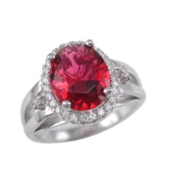 Sterling Silver 13mm Oval Red Cubic Zirconia Ring