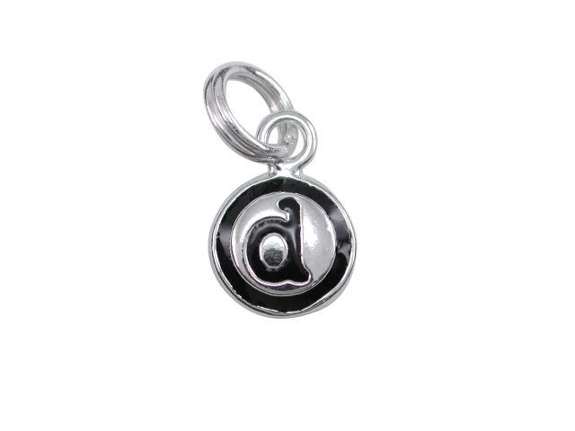 sterling silver 8mm d initial charm with split ring