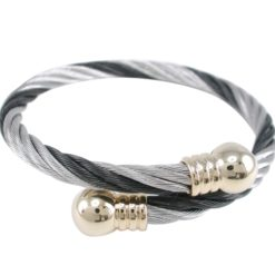 Stainless Steel Black & Gold Ip Crossover Cable Bracelet 18-21cm