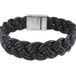 Stainless Steel 18mm Black Plaited Leather Bracelet 21cm