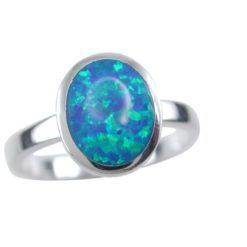 Sterling Silver 10mm Oval Synthetic Opal Ring