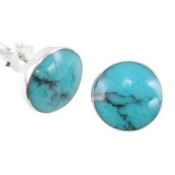 Sterling Silver 10mm Round Blue Turquoise Stud Earrings