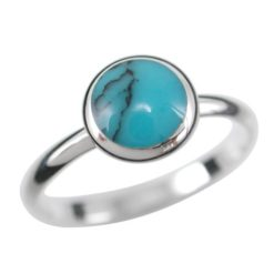 Sterling Silver 8mm Round Blue Turquoise Ring