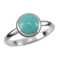 Sterling Silver 8mm Round Green Turquoise Ring