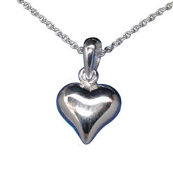 Sterling Silver 9mm Puff Heart Necklet 42cm