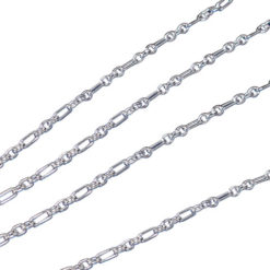 Sterling Silver 1mm Cable Link 1 + 3 Figaro Chain