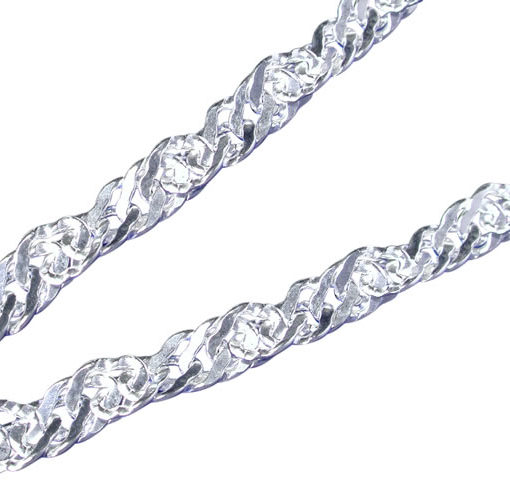 Sterling Silver 3.4mm Singapore Twist Anklet