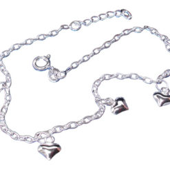 Sterling Silver 5mm Puff Hearts Anklet 23-25cm