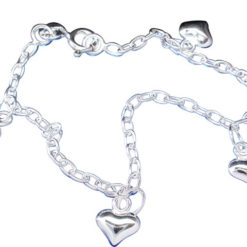 Sterling Silver 5mm Puff Hearts Bracelet