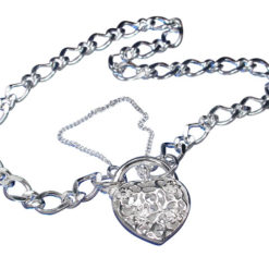 Sterling Silver Figaro Filigree Heart Padlock 4.4mm Bracelet With Safety Chain 19cm