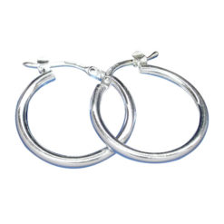 Sterling Silver 20mm X 2mm Plain Hoop Earrings