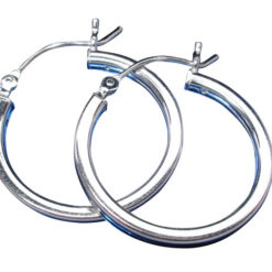 Sterling Silver 2mmx22mm Square Profile Hoop Earrings