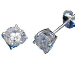 Sterling Silver 6mm Round White Cubic Zirconia Stud Earrings
