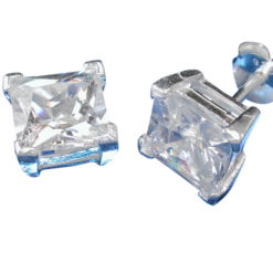 Sterling Silver 7mm Square White Cubic Zirconia Stud Earrings