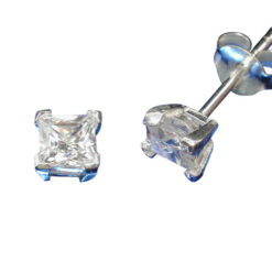 Sterling Silver 4mm Square White Cubic Zirconia Stud Earrings