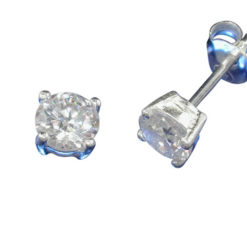 Sterling Silver 5mm Round White Cubic Zirconia Stud Earrings