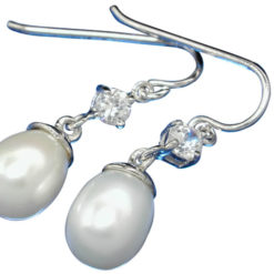 Sterling Silver White Freshwater Pearl & Cubic Zirconia Hook Earrings