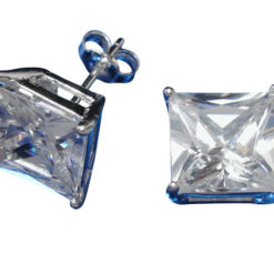 Sterling Silver 9mm Square White Cubic Zirconia Stud Earrings