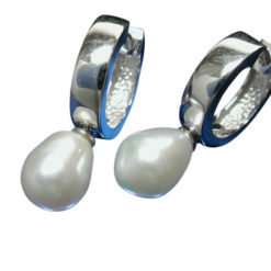 Sterling Silver 6mm Freshwater Pearl On 3.5x14mm Huggie Earrings