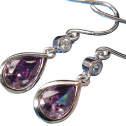 Sterling Silver 9x7mm Teardrop Purple Cubic Zirconia 19mm Drop Earrings