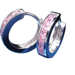 Sterling Silver 3mmx11mm Pink Cubic Zirconia Huggie Earrings