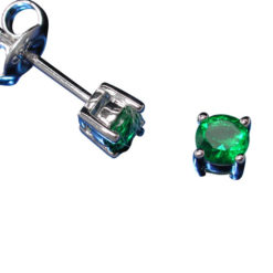 Sterling Silver 4mm Claw Set Round Green Cubic Zirconia Stud Earrings