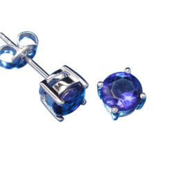 Sterling Silver 6mm Claw Set Round Blue Cubic Zirconia Stud Earrings