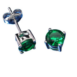 Sterling Silver 6mm Claw Set Round Green Cubic Zirconia Stud Earrings