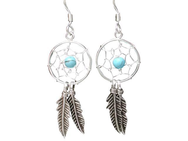 Sterling Silver 30x14mm Blue Turquoise Bead Dream Catcher Drop Earrings