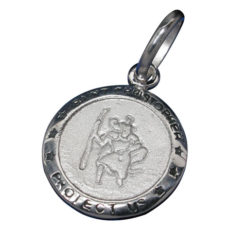 Sterling Silver 14mm Round St Christopher Pendant