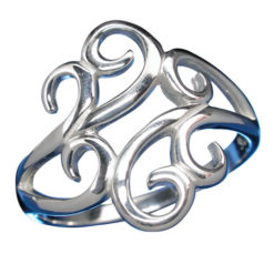 Sterling Silver 18mm Swirl Filigree Ring-