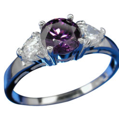 Sterling Silver 5.5mm Purple Cubic Zirconia Ring-