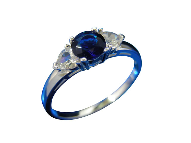 Sterling Silver 5.5mm Blue Cubic Zirconia Ring-