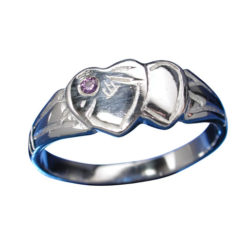 Sterling Silver 7mm Purple Cubic Zirconia Signet Ring