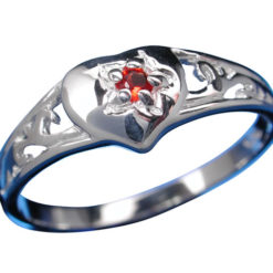 Sterling Silver 7mm Red Cubic Zirconia Signet Ring