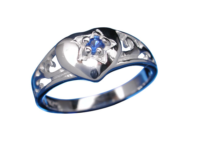 Sterling Silver 7mm Blue Cubic Zirconia Signet Ring