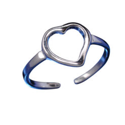 Sterling Silver 8mm Heart Toe Ring