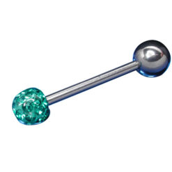 Surgical Steel Barbell 1.6x16x6/6 Blue/green Crystal Infinity