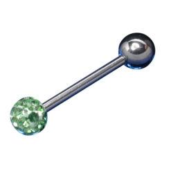 Surgical Steel Barbell 1.6x16x6/6 Lime Green Crystal Infinity