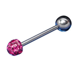Surgical Steel Barbell 1.6x16x6/6 Fuchsia Crystal Infinity