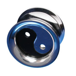 Surgical Steel 14mm Internal Thread Ear Plug With Ying And Yang Inner