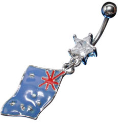Surgical Steel White Cubic Zirconia Star With Australian Flag Banana 1.6 X10 X 4.5/8.5