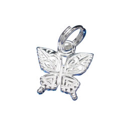 Sterling Silver 9x11mm Butterfly Charm With Split Ring
