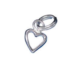 Sterling Silver 6mm Cut Out Heart Charm With Split Ring