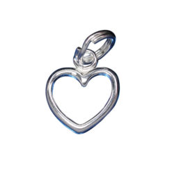 Sterling Silver 10mm Cut Out Heart Charm With Split Ring