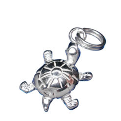 Sterling Silver 15x11mm Turtle Charm With Split Ring