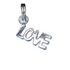 Sterling Silver 12x5mm Love Charm With Split Ring