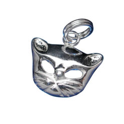 Sterling Silver 10x14mm Cat Head Charm With Split Ring