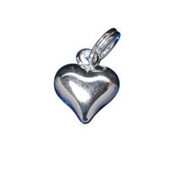 Sterling Silver 9mm Puff Heart Charm With Split Ring