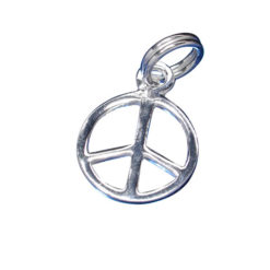 Sterling Silver 10mm Peace Sign Charm With Split Ring
